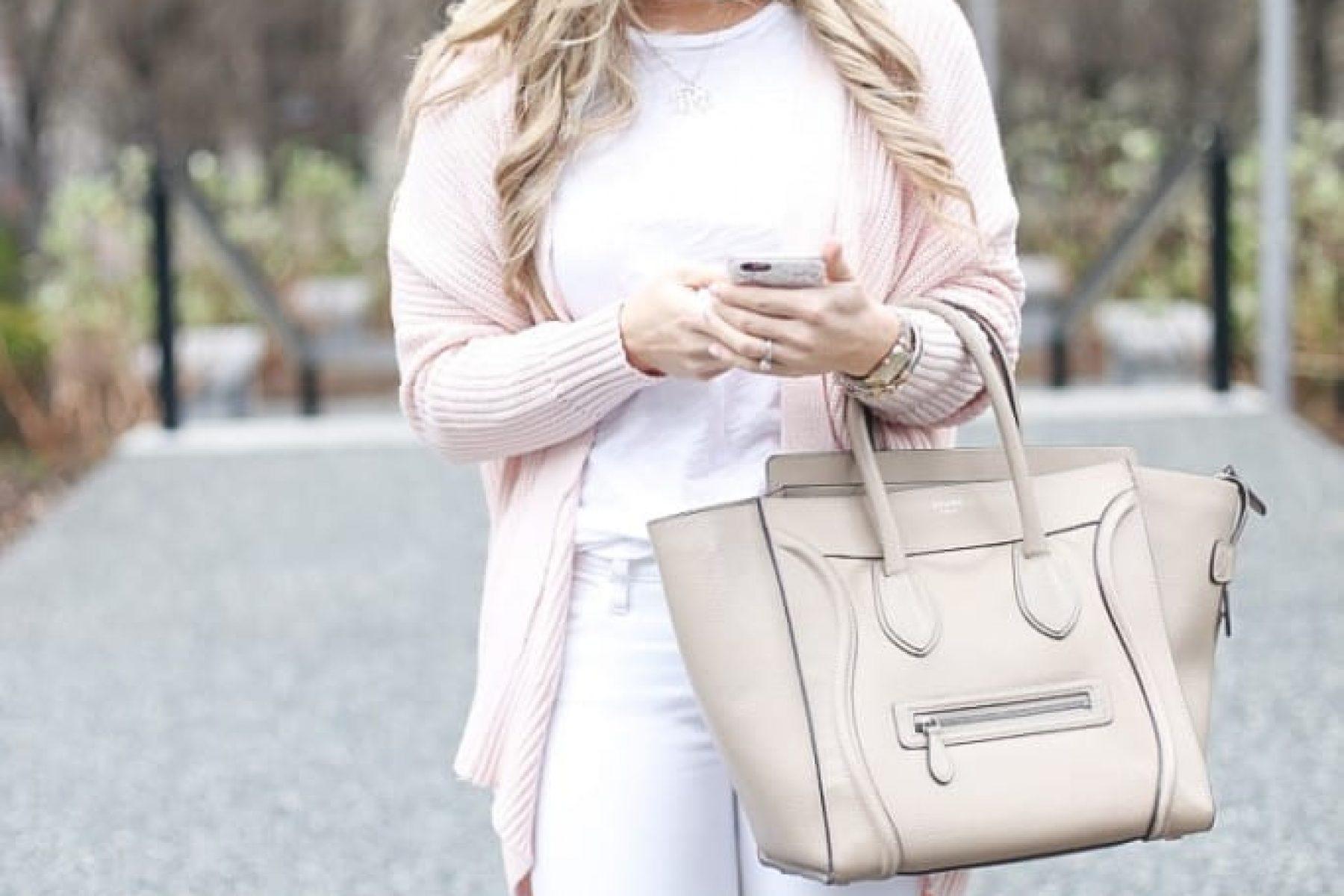 Blush-Cardigan-Pink-Urban-Outffiters-Classic-White-Denim-Celine Bag-1-2