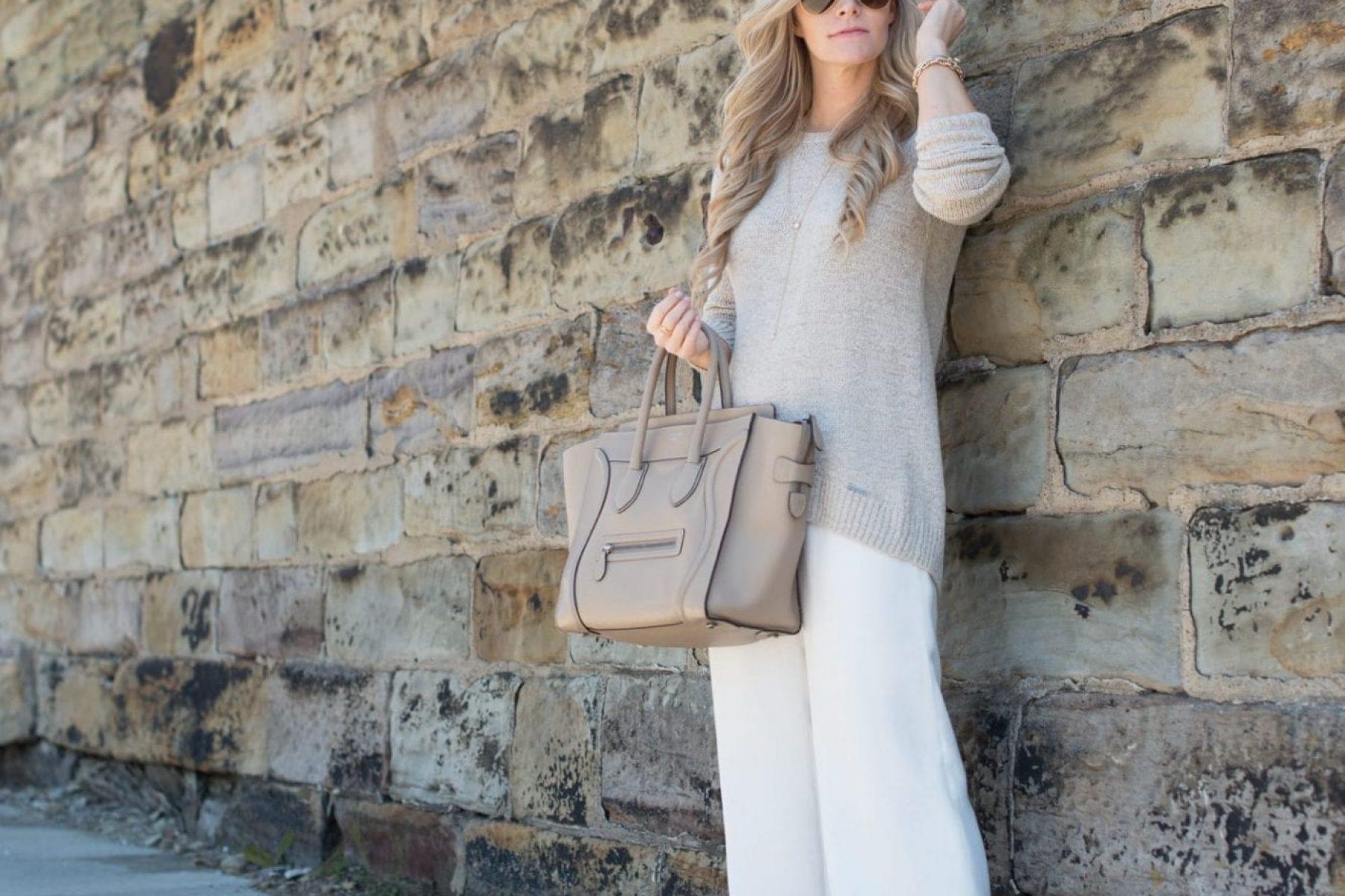 Wide Leg Pants- White Pants- Neautrals-Classic-chic - Celine Bag-3