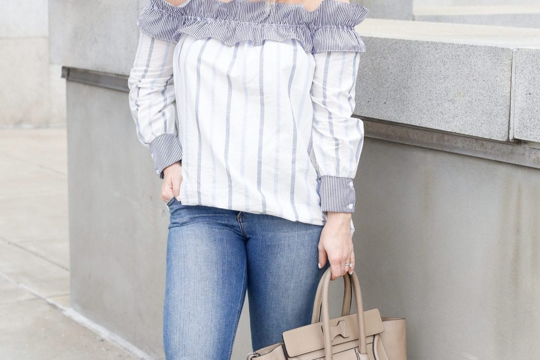 English Factory Off the Shoulder Blouse - Ruffles- Bumpdate- Week 19 - Pregnancy- Bump Style-2