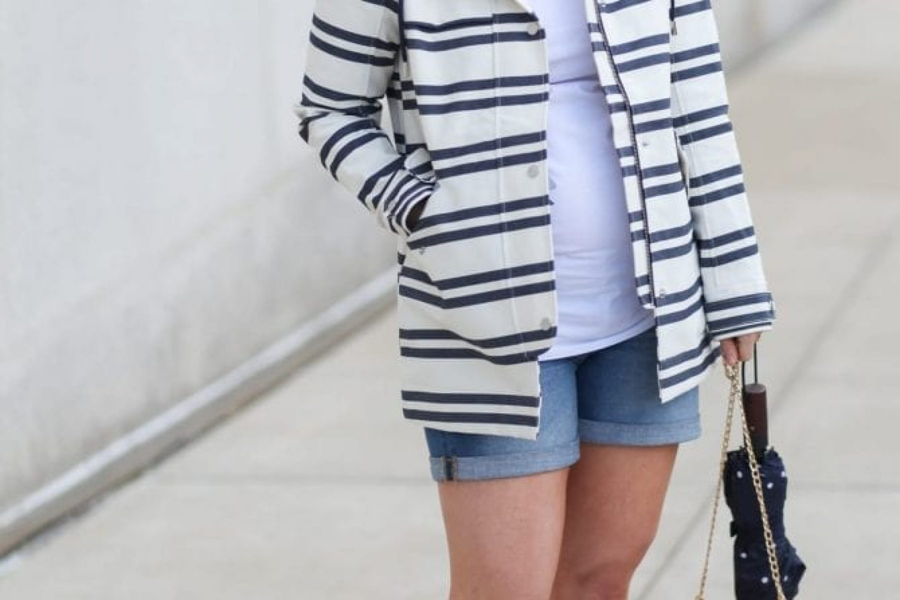 Abercrombie and Fitch Raincoat- Ingrid and Isabel Maternity Shorts- Maternity Fashion- Afternoon Espresso-3