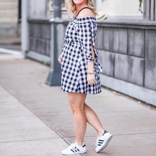 Gingham Dress- Target Style- Celine Bag- Gingham- Off the Shoulder-3