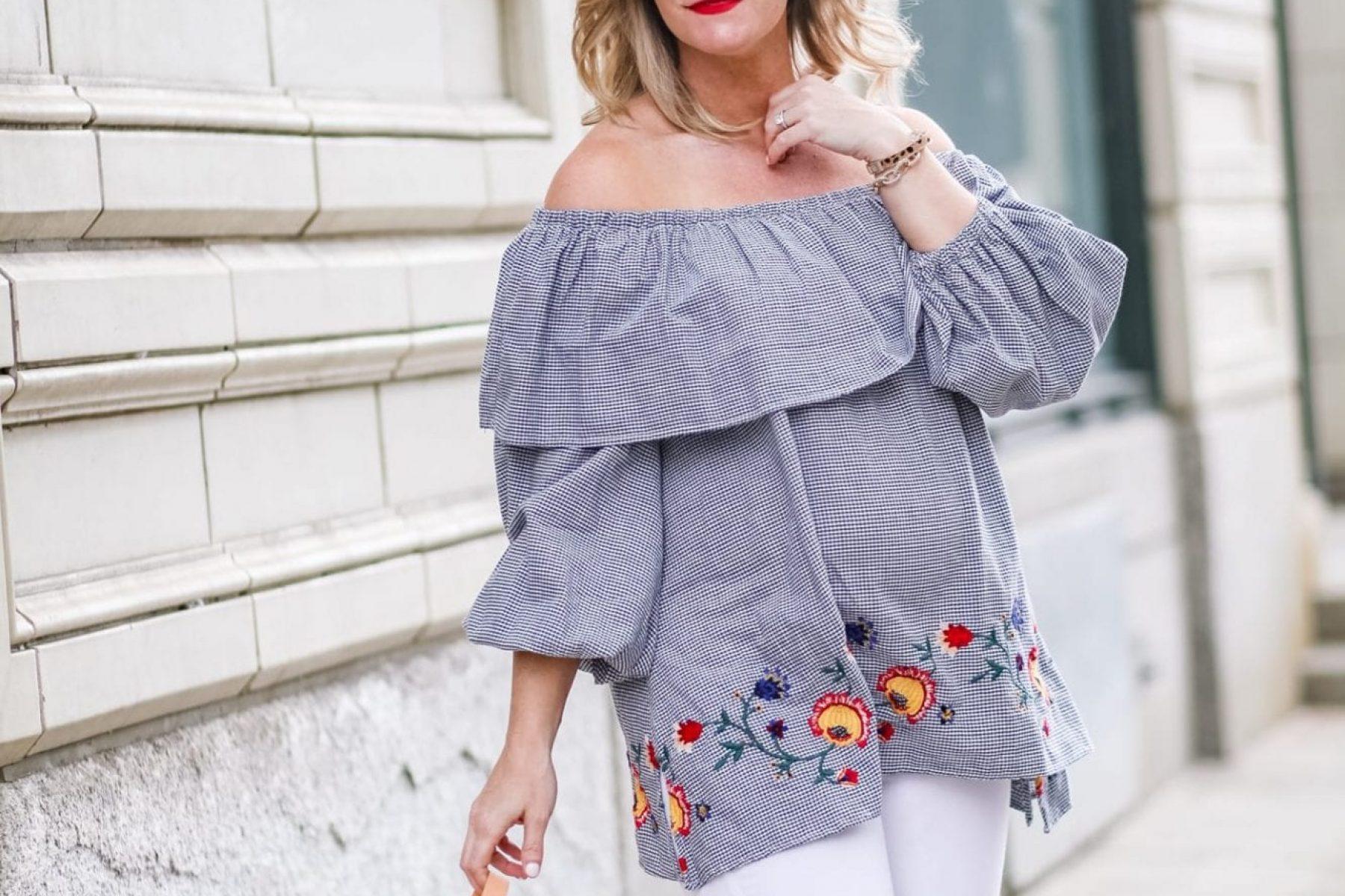Maternity Fashion - Zara- Gingham Off the Shoulder- Gingham Shirt