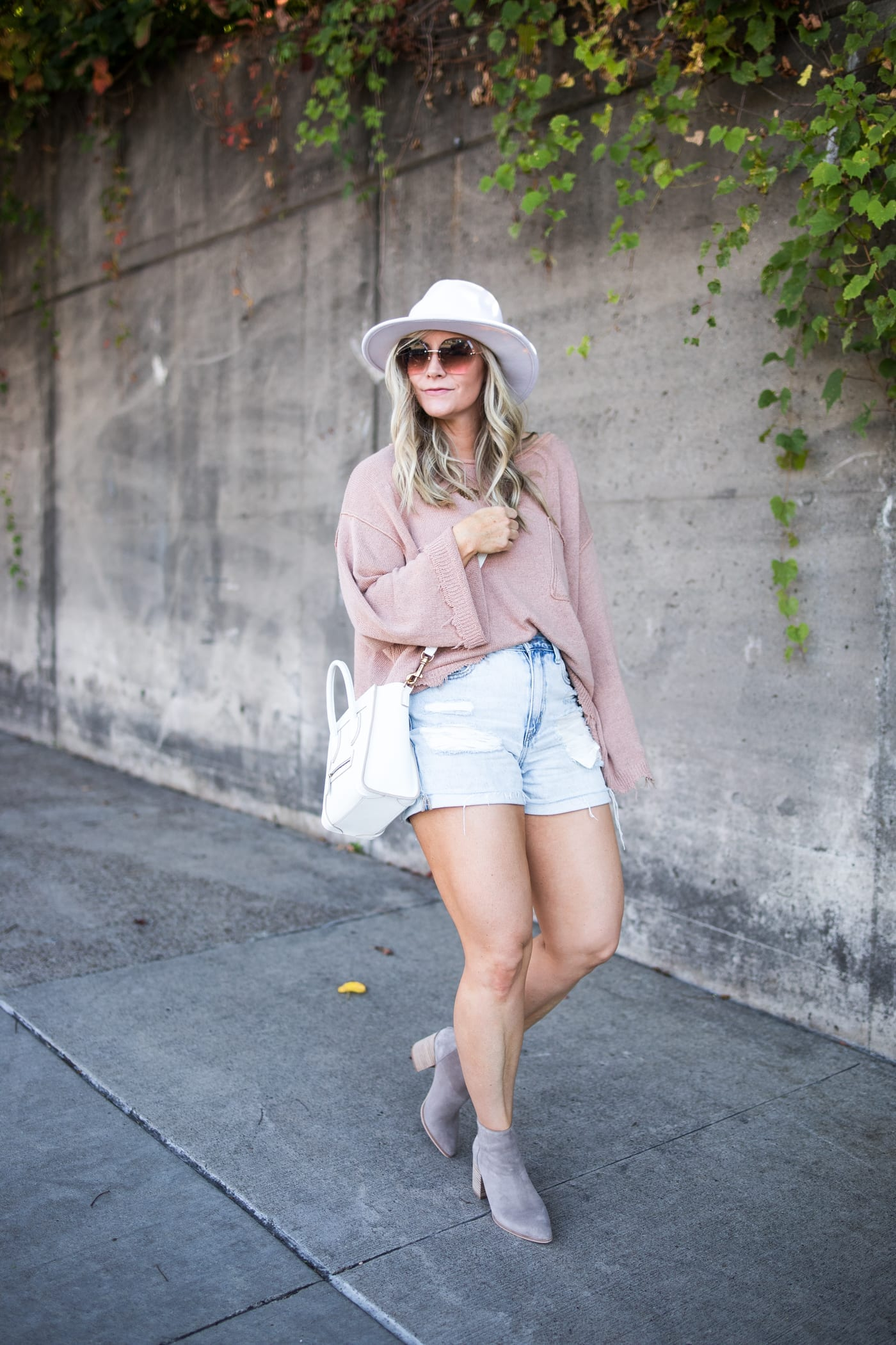 transitiong my closet- fall transition pieces- Marc Fisher Booties- Free People Sweater- White Wide Brim Hat-Shorts and Sweaters- Ashley Pletcher