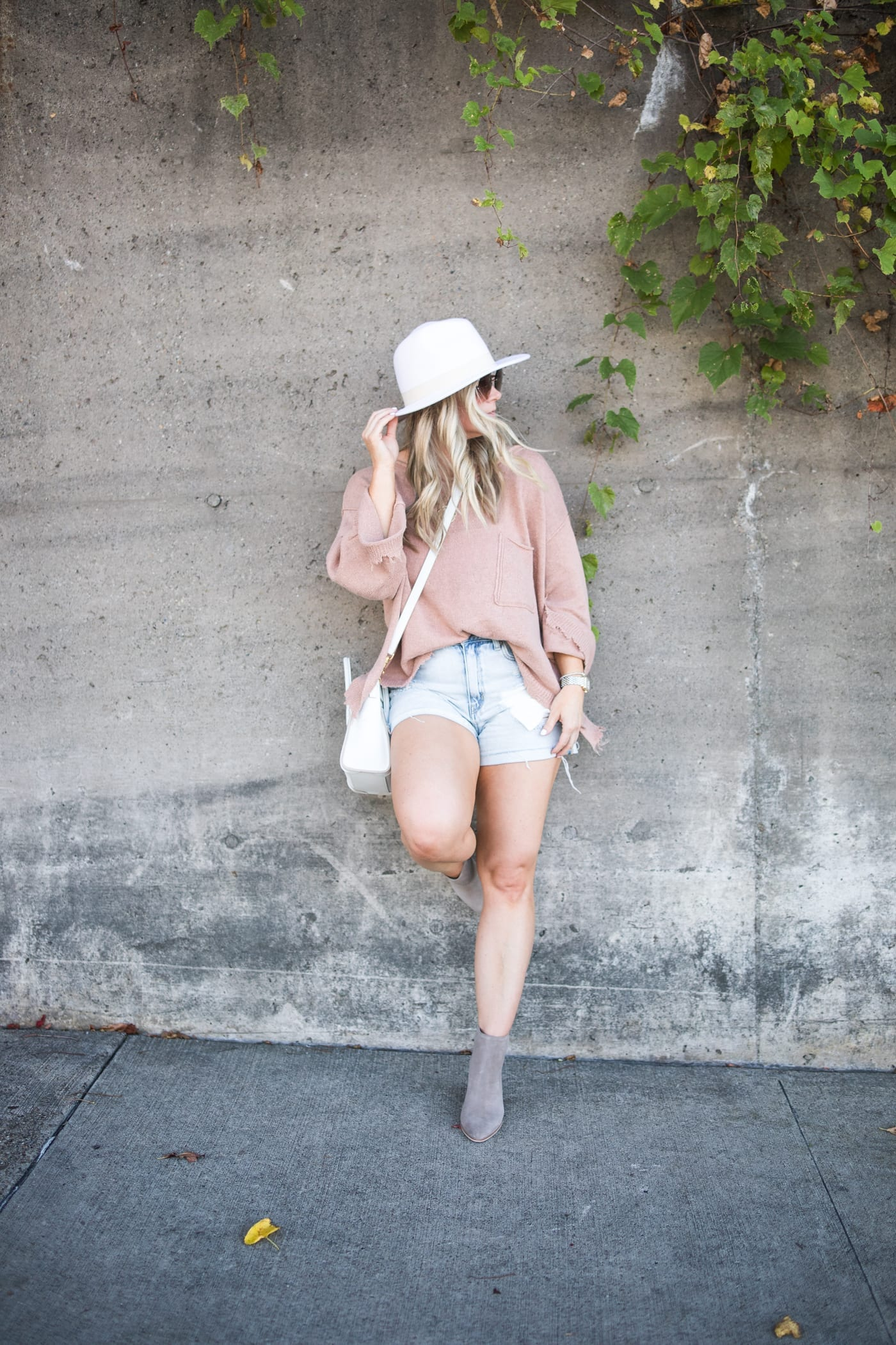 transitiong my closet- fall transition pieces- Marc Fisher Booties- Free People Sweater- White Wide Brim Hat- Shorts and Sweaters
