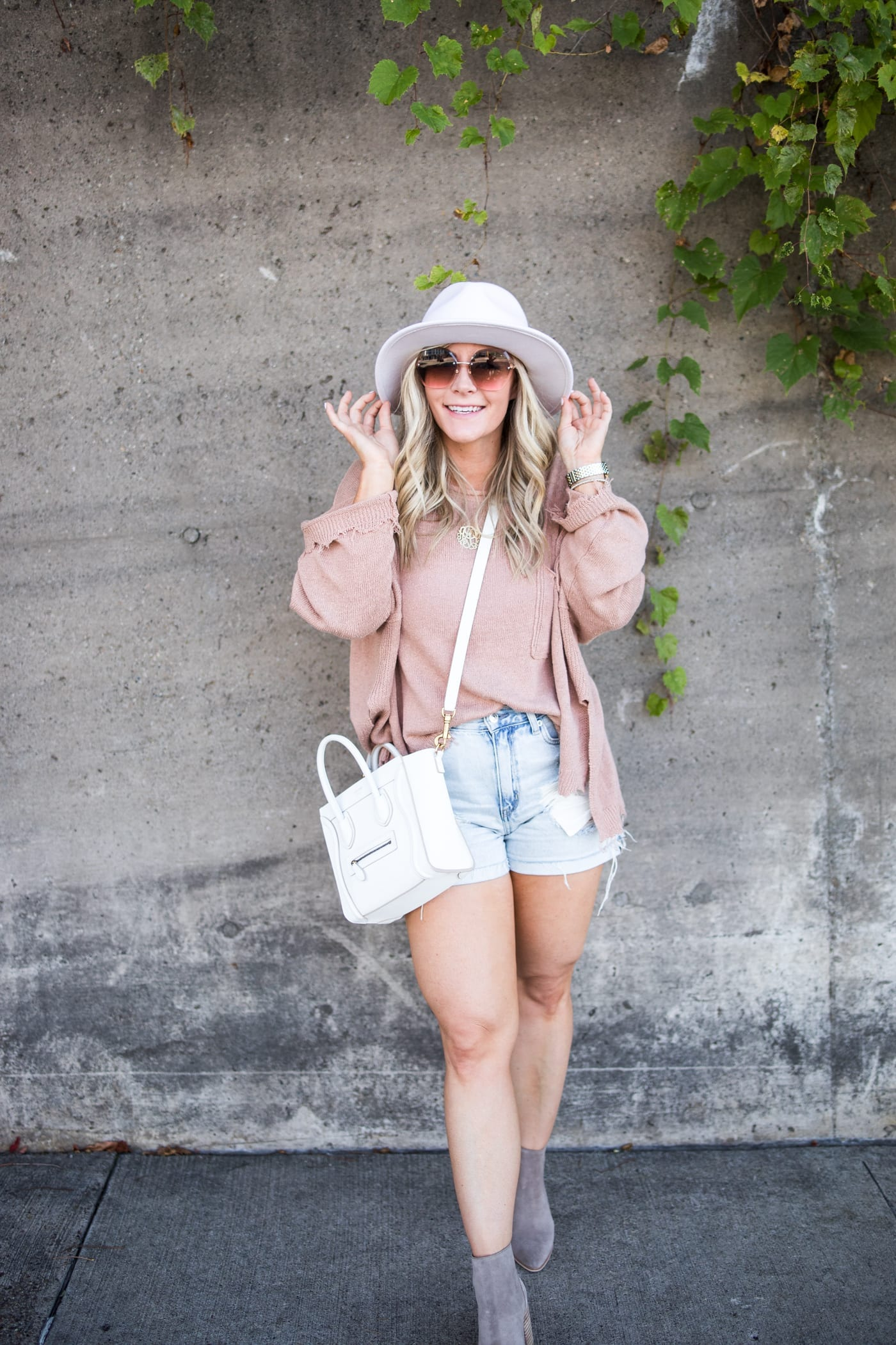 transitiong my closet- fall transition pieces- Marc Fisher Booties- Free People Sweater- White Wide Brim Hat-Afternoon Espresso