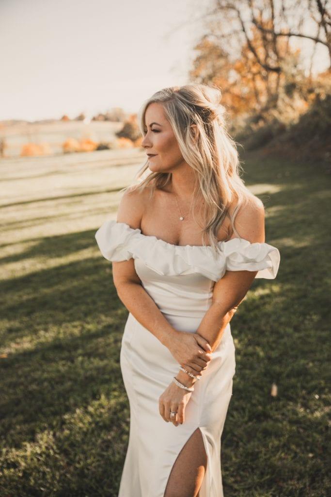 Joyce's Jewelry- Bridal Gown- Off the Shoulder Bridal Gown- backyard Wedding - Fall Wedding -Burgh Brides