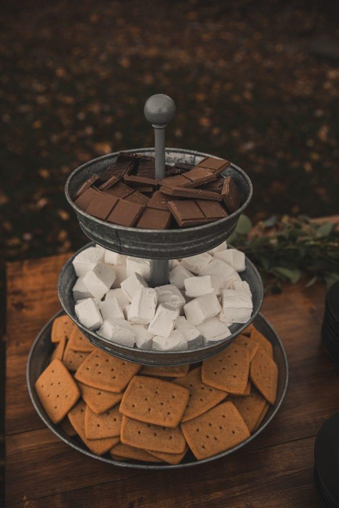 S'mores Table- Homemade S'mores Backyard wedding- covid wedding ideas- grazing table- Mediterra Bakehouse- Mediterra Cafe- Pittsburgh- Burgh Brides