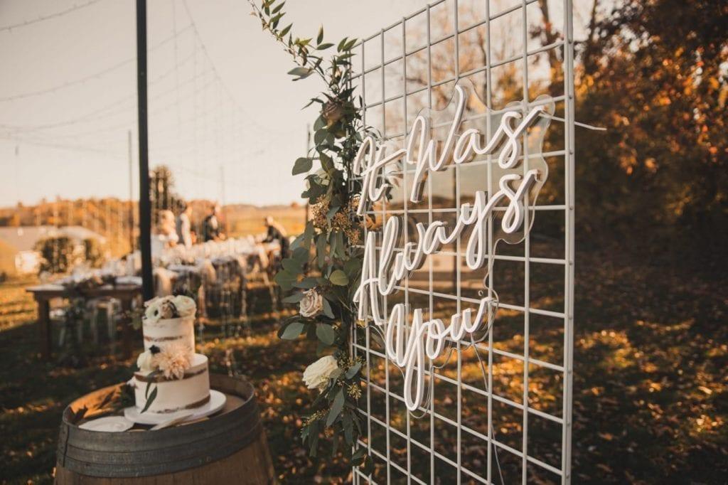 Neon Sign- Neon Wedding Sign- Backyard Wedding Idea- Fall Wedding - Pittsburgh - Burgh Brides