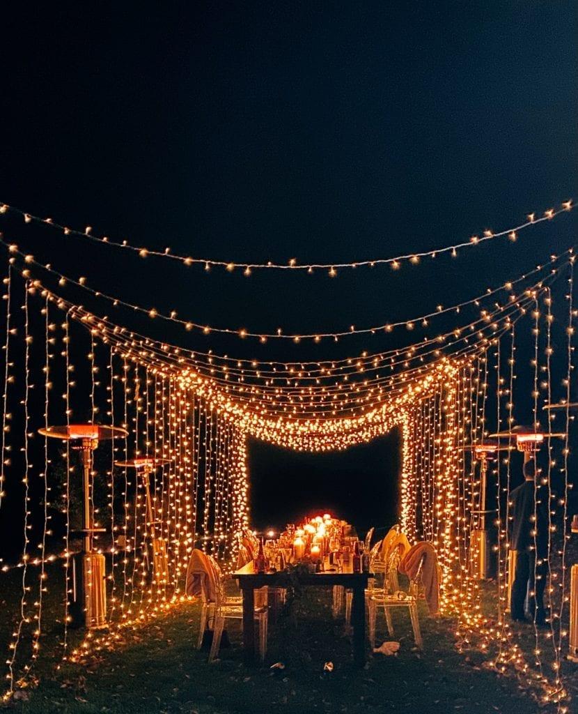 Illume Pittsburgh- Lighting Design- Light Tunnel- Backyard Wedding - Covid Wedding- Small wedding idea- Burgh Brides
