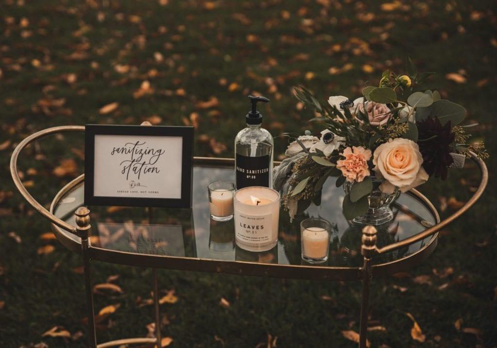 Sweet Water Decor- Covid Wedding - Hand Sanitizing Station - Bar Cart Sanitizing Station