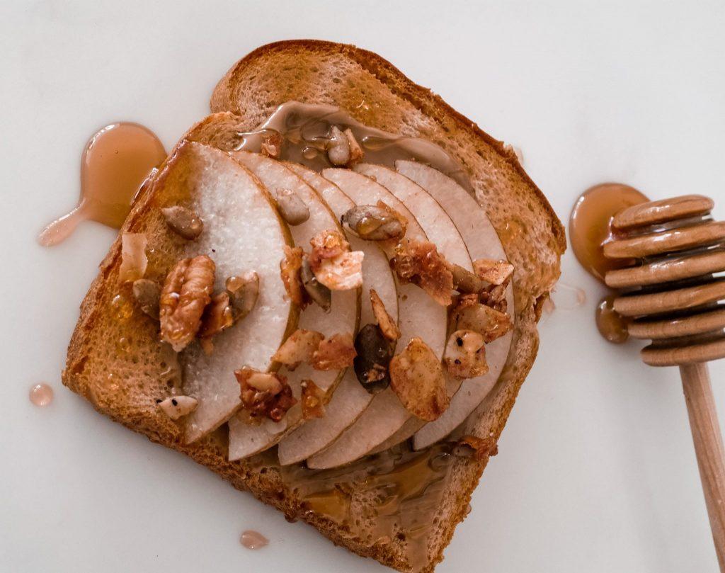 4 nutritious toast recipes - Arnold Bread - Sunbutter Pear and Granola toast