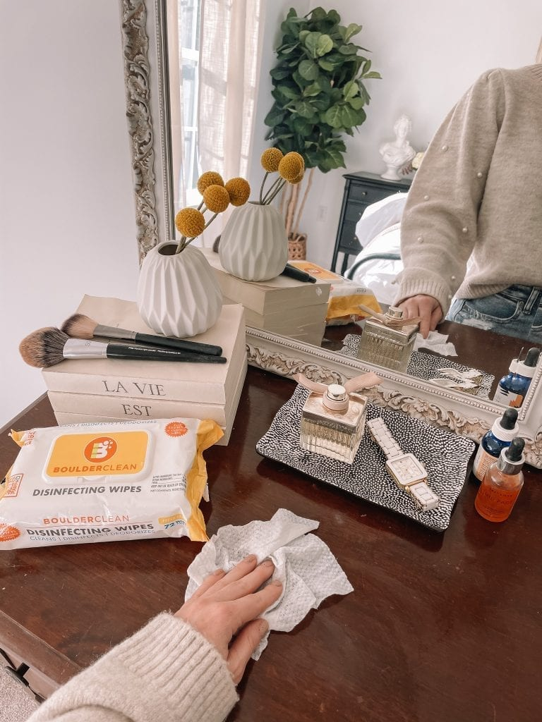 Spring Home refresh- Spring Refresh- Ashley Pletcher Home- Cleaning- Disinfecting Wipes