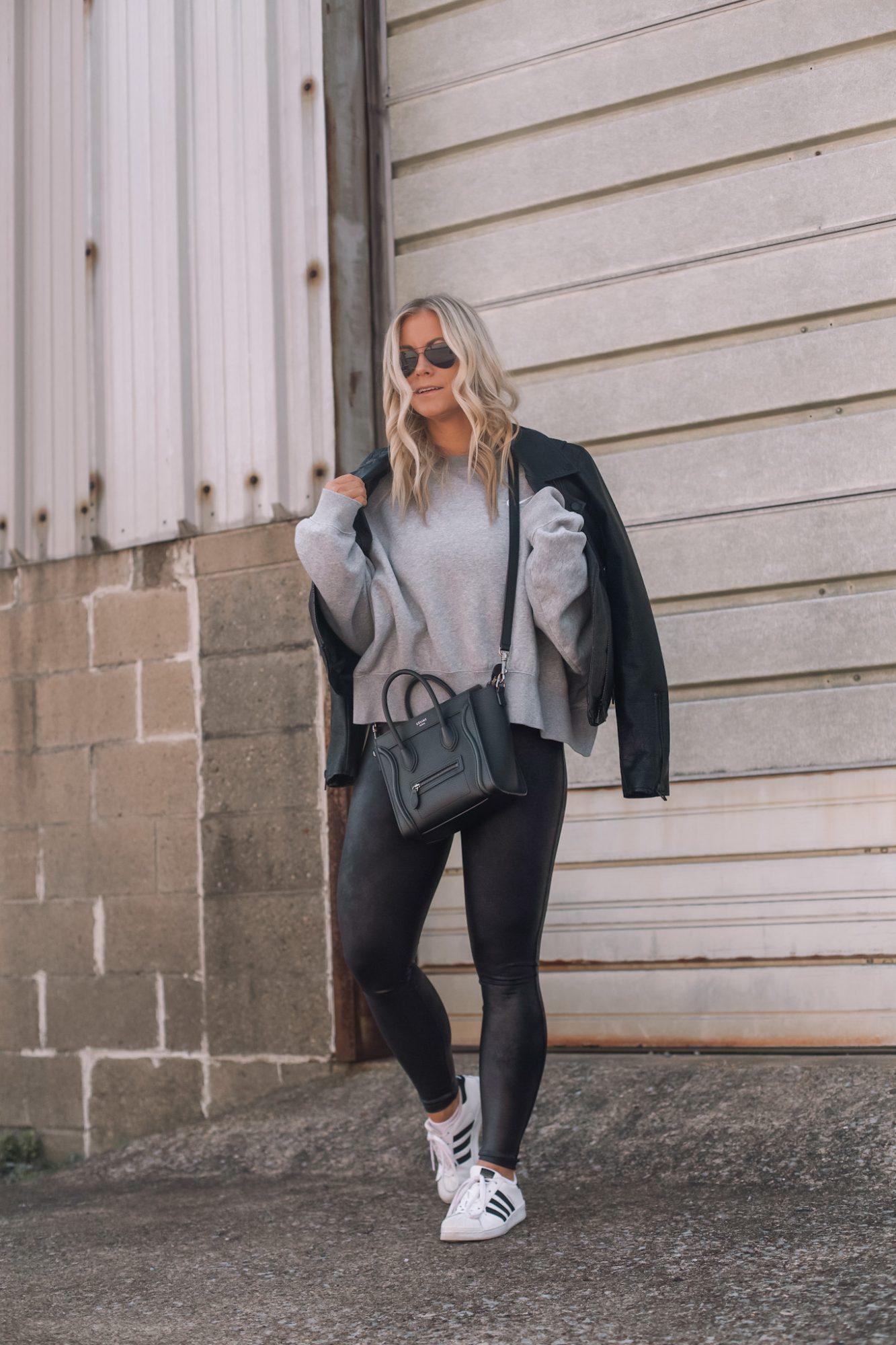 Faux Leather Leggings - Fall Outfit Idea- Athleisure- Ashley Pletcher- Fall Fashion