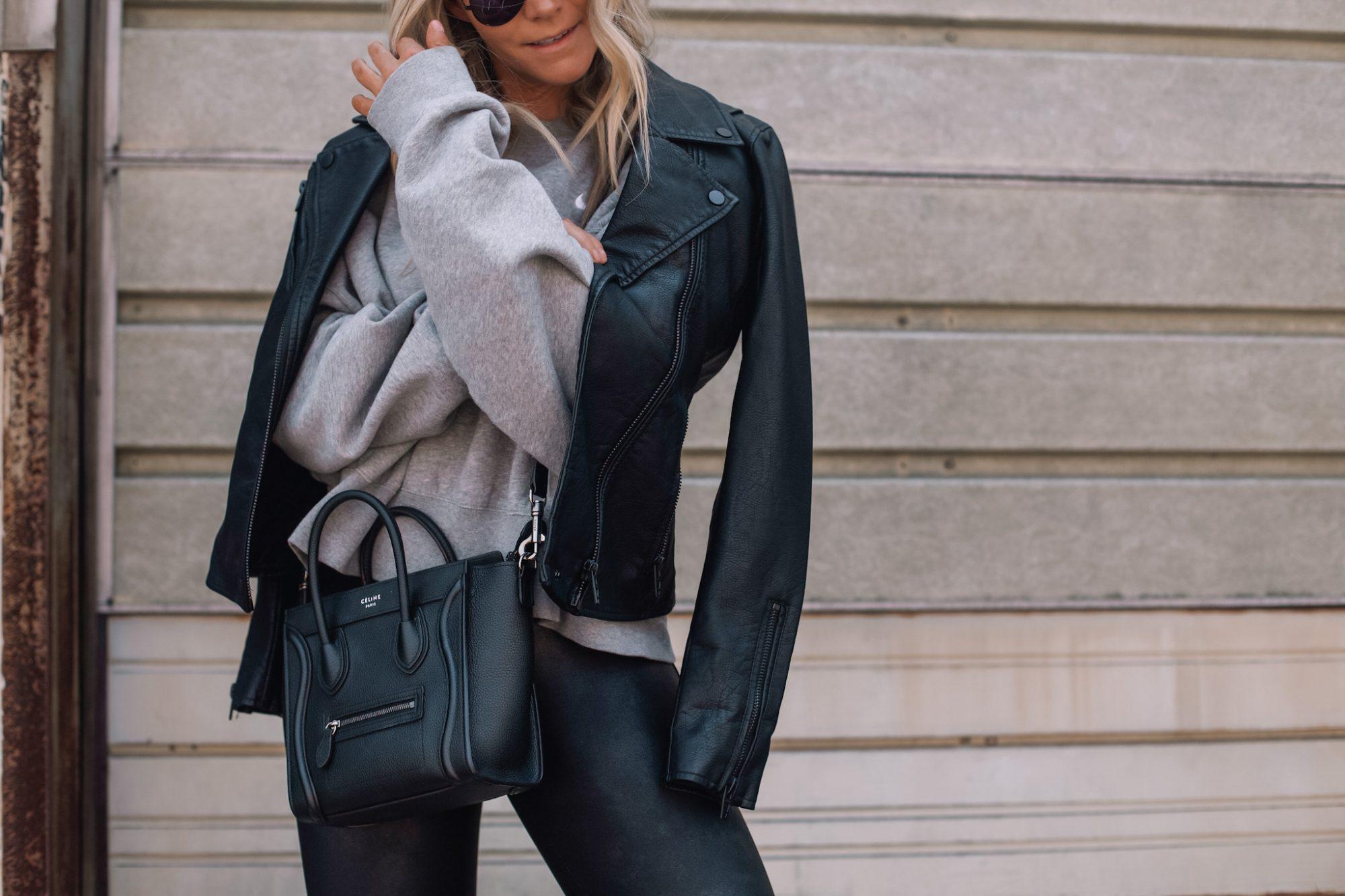 Faux Leather Leggings - Fall Outfit Idea- Athleisure- Ashley Pletcher- Faux Leather Jacket