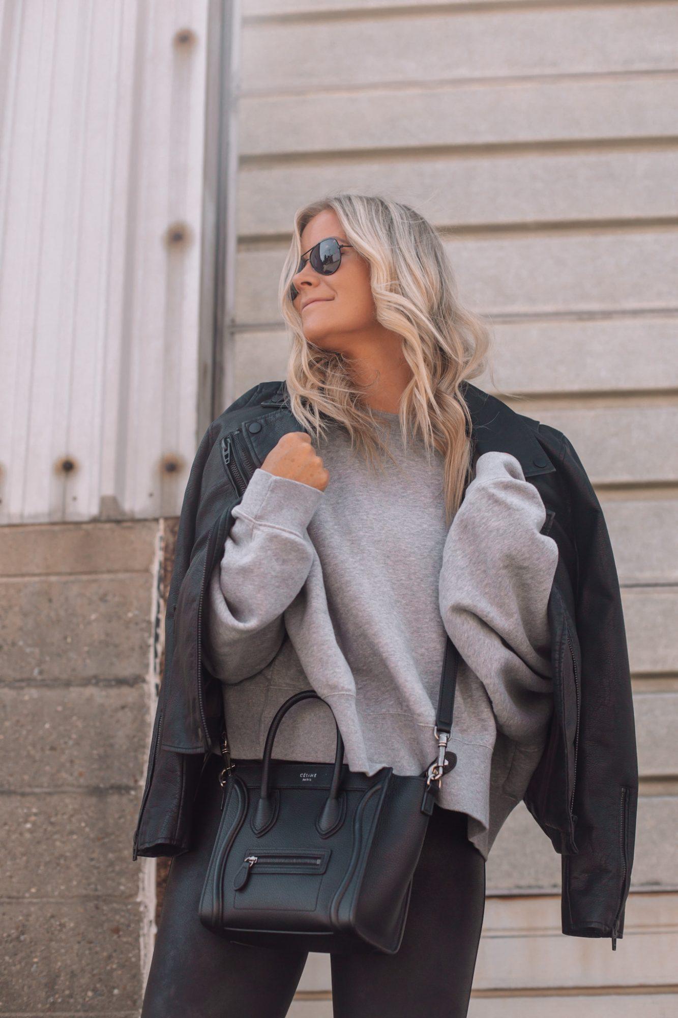 Faux Leather Leggings - Fall Outfit Idea- Athleisure- Ashley Pletcher- Black Aviators