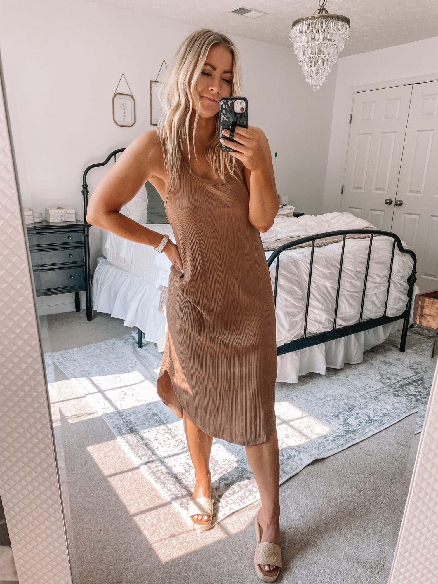July 2021 Favorites - Afternoon Espresso- Ashley Pletcher- Ribbed Midi Dress- Swimsuit Cover Up