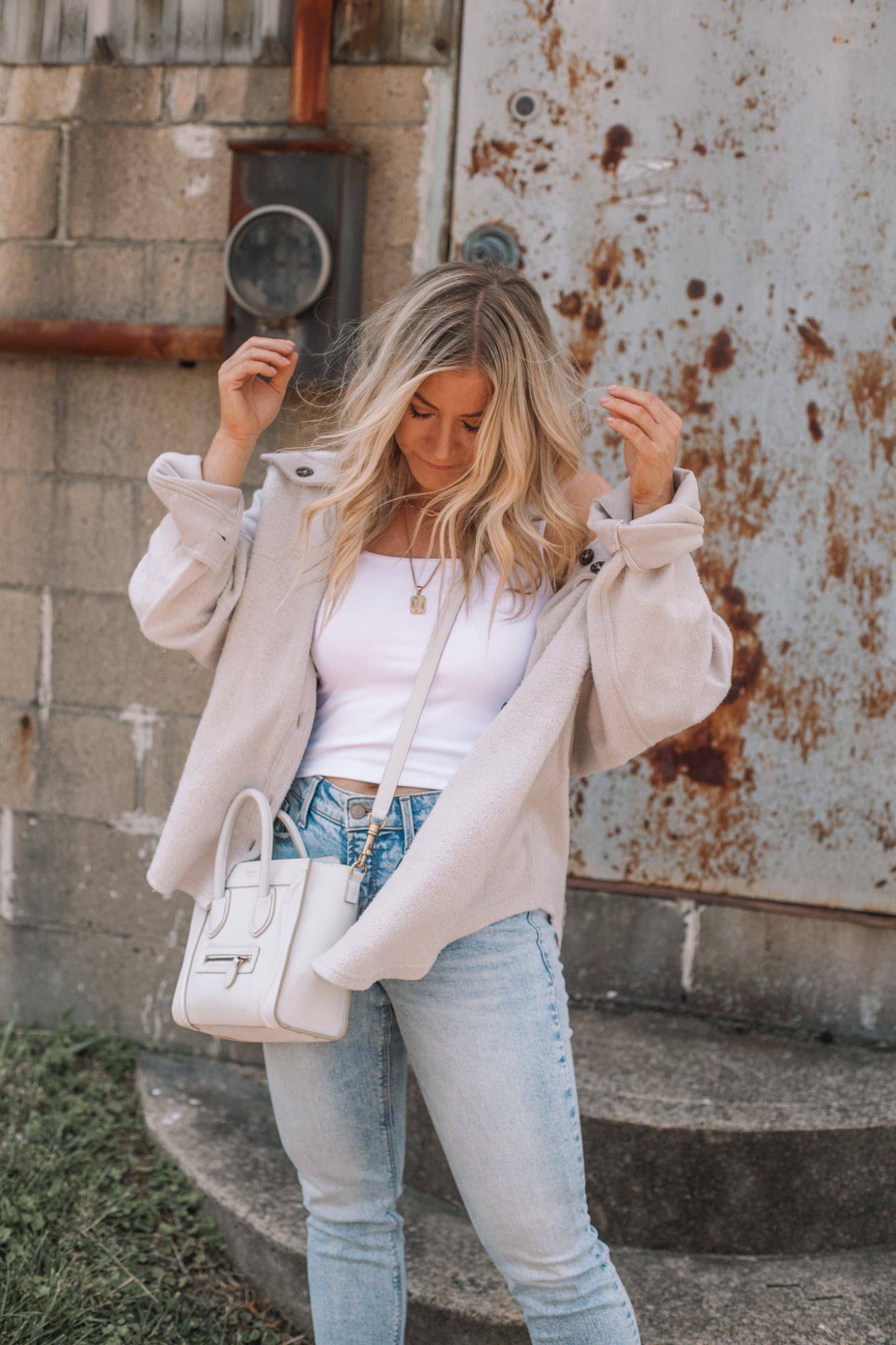 Cozy Button Down Shacket- Fall Essentials- Fall Layers- Ashley Pletcher- Fall Fashion- Celine Luggage Tote